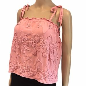 H&M pink embroidered women's tank top size 4